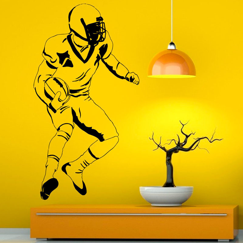 ZOOYOO Football Player Wall Decals Home Decor American Sports Kids Boys Bedroom Wall Sticker Living Room Decoration