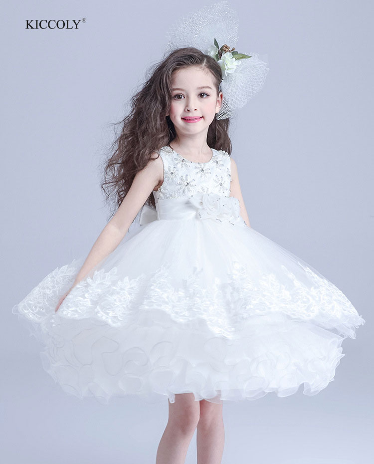 2018 Elegant Summer White Girls Dress Wedding Flower Girl Dresses First Communion 3D Flowers Dresses Baby Girl Clothes 3-14Y lace butterfly flowers laser cut white bow wedding invitations printing blank elegant invitation card kit casamento convite