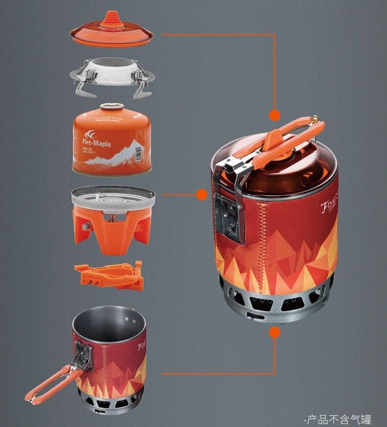 Système de cuisson personnel extérieur en érable feu randonnée équipement de Camping four Portable cuisinière à gaz brûleur Pot pique-nique 0,8l FMS-X3 X2
