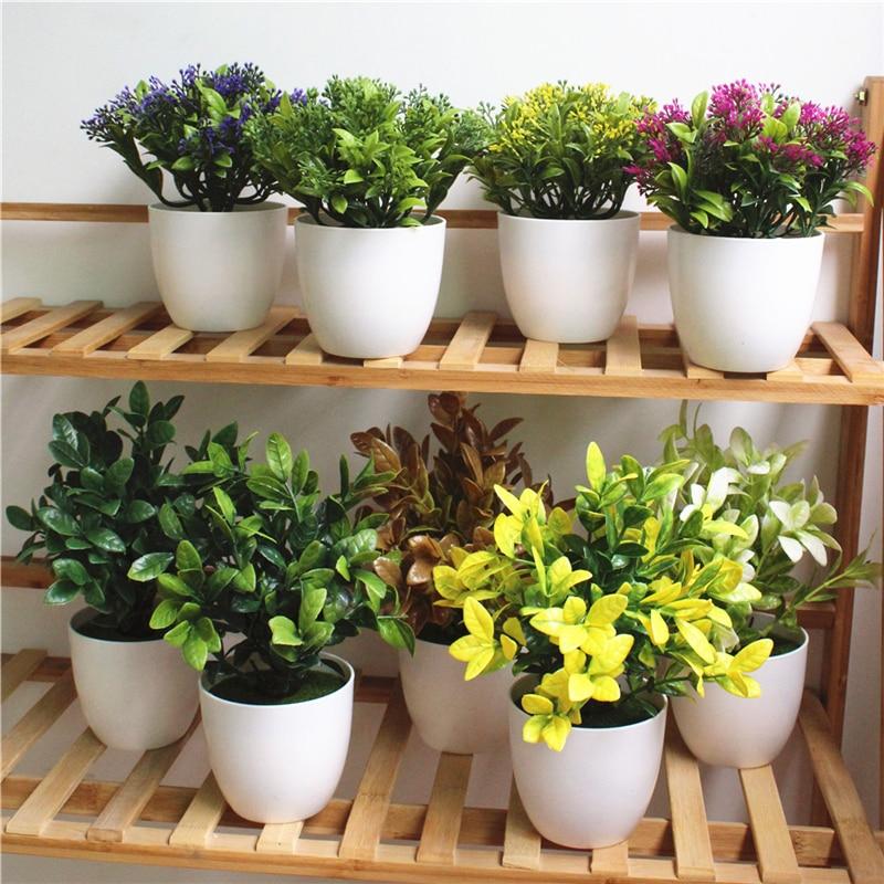 1 Pc Mini Artificial Simulated Succulent Plants Milan Grass Bonsai Plastic White Flower Pot Home Garden Decoration