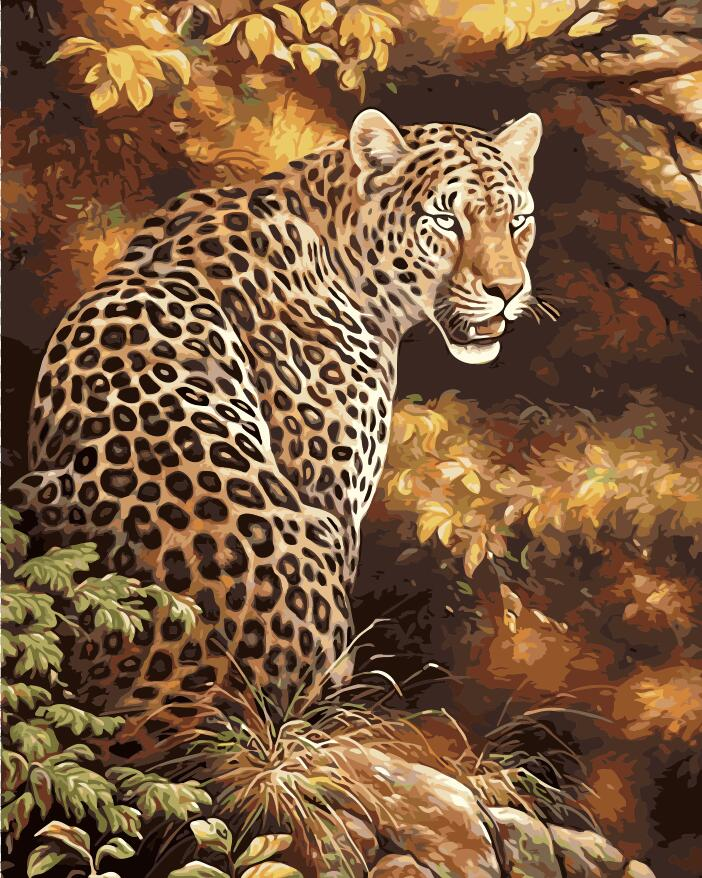 No Frame Cheetah Animals DIY Painting By Numbers Kits Paint On ...