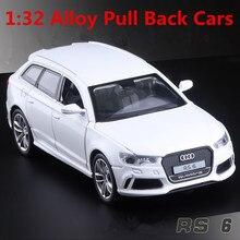 1:32 сплава модели автомобилей, высокая моделирования Audi RS6, металл diecasts, игрушечных транспортных средств, вытяните назад и мигать и музыкальные, бесплатная доставка