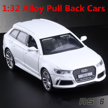 1:32 alloy car models,high simulation Audi RS6, metal diecasts, toy vehicles, pull back & flashing & musical, free shipping