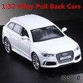 1:32 modelos de carros de liga, simulação de alta Audi RS6, metal diecasts, veículos de brinquedo, pull back & piscando & musical, frete grátis