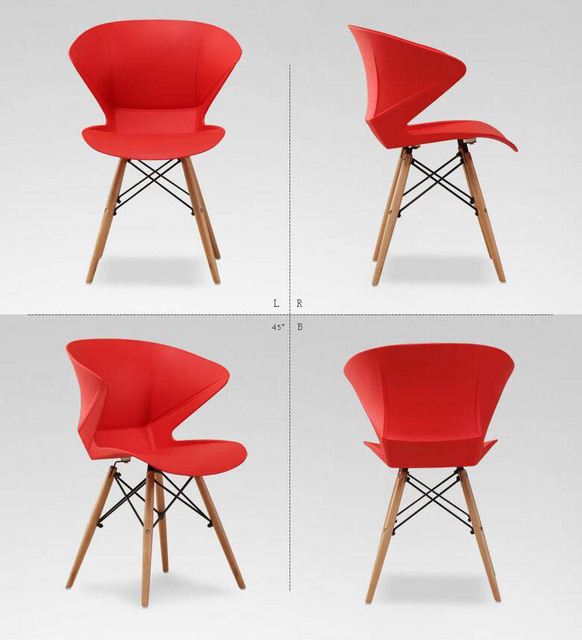 2 Pieces of Set Nordic Fashion Chair Plastic Creative Office Modern Stoelen Furniture Wood Restaurant Chairs Ergonomic