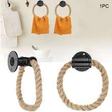 Настенный чугунный Органайзер, изысканное украшение для дома, вешалка для ванной комнаты, держатель для полотенец, промышленная винтажная веревка