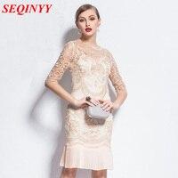 2015 New European Fashion Summer Women S Vintage Brand Half Sleeve Above Knee Beige Silver Pleated