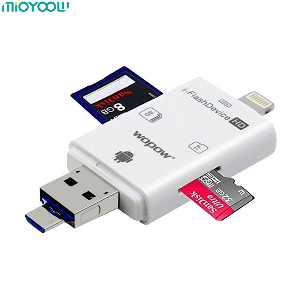 SD Card Reader for iPhone iPad USB 2.0 OTG Mini Smart Memory Card Reader Micro SD TF Adapter Lightning for iPhone IOS Android new portable mini design charming 3 in 1 card reader usb type c micro usb 3 0 tf sd card reader support type c otg card reader