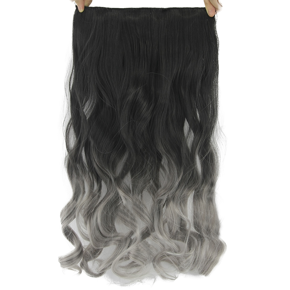 Soowee 24inch Long Curly Black to Gray Women Hair High Tempreture Synthetic Ombre Hair Piece Clip in Hair Extensions