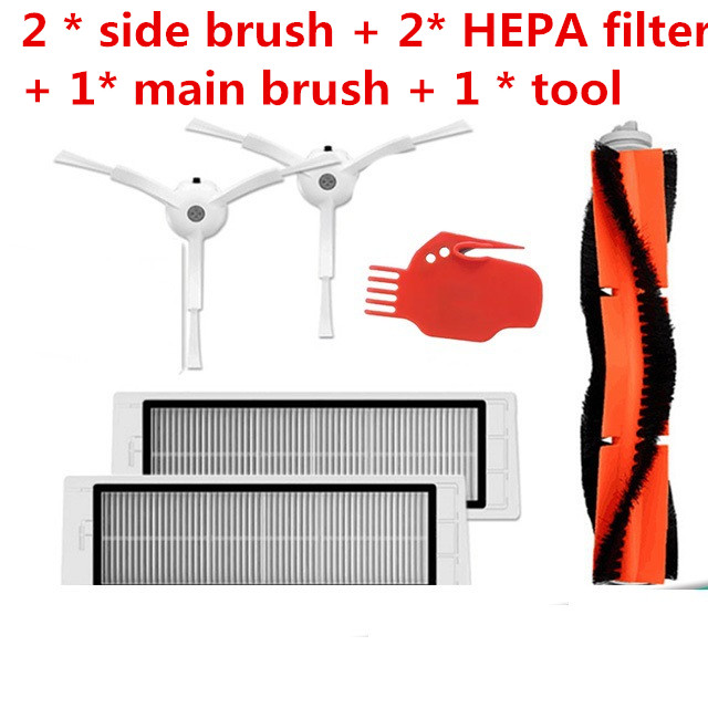 6pcs Vacuum Cleaner parts 2 * side brush + 2* HEPA filter + 1* main brush + 1 * tool Suitable for Xiaomi Mi Robot