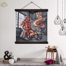 Дракон и воин в рамке прокрутка картина Современный арт принт