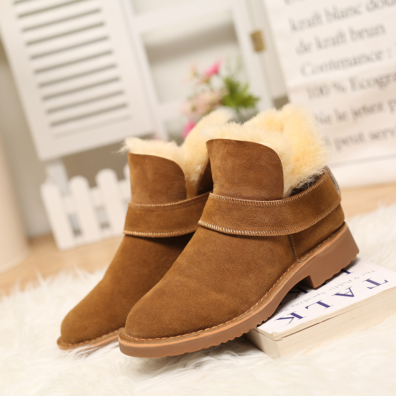 2016 New Brand Designer Winter Sheepskin Natural Fur font b Women b font Snow Ankle Boots