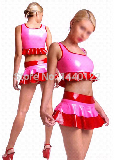 Summer women Pink sexy latex summer mini skirts and tops fetish rubber costumes vestidos club wear plus size hot sale