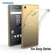 VOONGSON Clear Back Cover TPU phone cases For Sony Xperia X XP XA M2 M4 T2 M5 T3 Z4 Z1 Z3 Z5 Compact premium C3 C4 C5 E3 E4 Case(China)