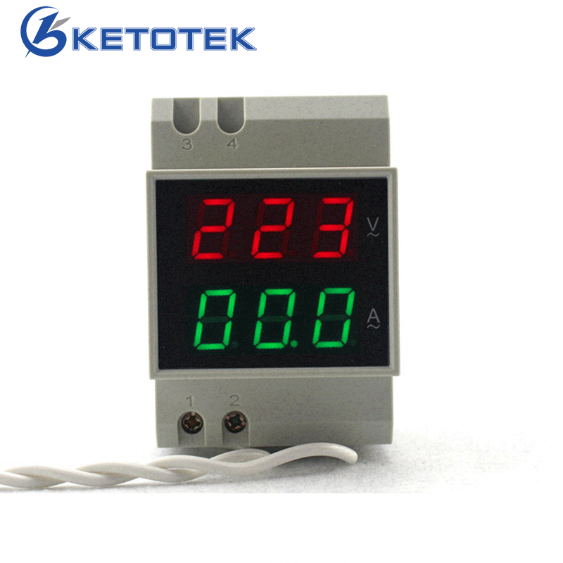 Din Rail Dual Led Digital AC Voltmeter Ammeter Voltage Ampere Meter Volt Current Panel Tester AC80-300V AC 200-450V 0.1-99.9A wholesale 5pcs d85 2042a lcd dual display digital ammeter voltmeter ac volt current meter black