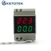 Din Rail Dual Led Digitale AC Voltmeter Amperemeter Ampere Meter Volt Huidige Panel Tester AC80-300V AC 200-450 V 0.1-99.9A