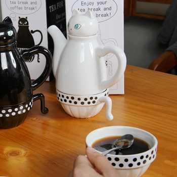 แมวญี่ปุ่นกาน้ำชากาแฟน่ารักชุดการ์ตูนสร้างสรรค์หม้อชาถ้วยเซรามิคบ้านนมแก้วน่ารักญี่ปุ่นกาน้ำชา 1 หม้อและ 2 ถ้วย