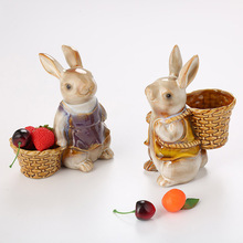 Ceramic Art Basket Rabbit Cute Model of Strawberry rabbit Backpack For the home decoration table bedroom precious gift