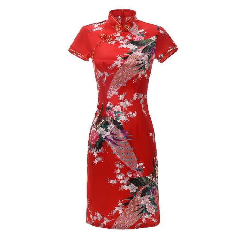Cheongsam corto Sexy y delgado de verano para mujer, vestido de estilo chino de talla grande con rayón estampado Floral para espectáculos en escenario, Qipao, 3XL, 4XL, 5XL, 6XL