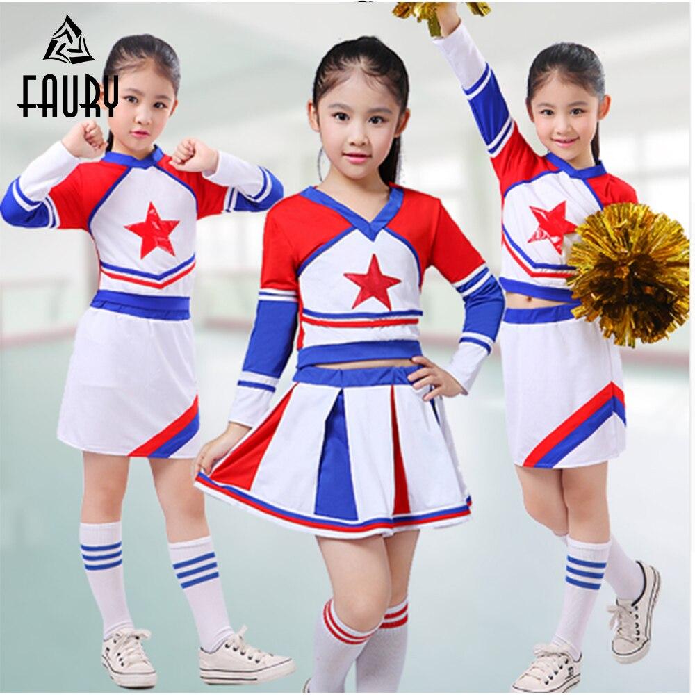 Girls Cheerleader Cheer Leaders Costume Children Academic Dress Primary School Uniforms Set  Boy Aerobics Clothing Uniforms