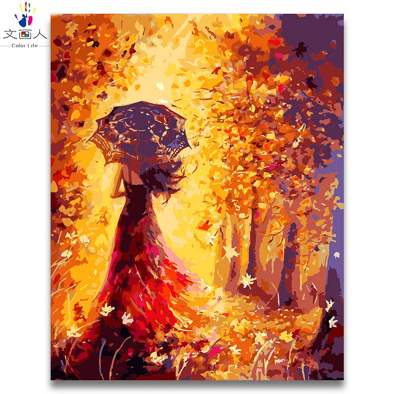 Beautiful Girl in dress walking under umbrella Accompanied by golden yellow leaves picture figure painting by numbers with kits