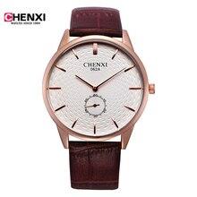 CHENXI Relojes hombre ultra delgado Top brand Reloj de los hombres de Cuero Casual de Negocios de Cuarzo Analógico Reloj de Los Hombres Relogio regalo horas