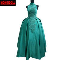 Real Luxury High Neck Evening Dress Emerald Green Ball Gown Evening Dresses 2019 Beaded Pageant Gowns Prom Damen Abendkleider