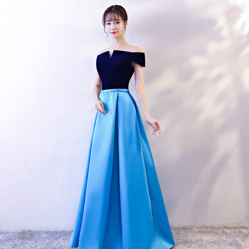 Blue Long Prom Dresses 2019 New Off The Shoulder Prom Gown Satin Formal Dress Women Occasion Party Dresses Robe De Soiree