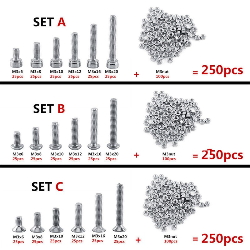 MTGATHER 250pcs M3 Stainless Steel Head Screws Bolts With Hex Nuts Assortment Kits Set 304 Stainless Steel mtgather 442 pcs silver m3 stainless steel hex head srews bolt nuts hexagon handle set tool 50x18mm hot sale