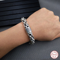 2018 Genuine 100% pure 925 sterling silver men's bracelet sterling silver 925 bracelet man Men's Jewelry Vintage Style Bracelet