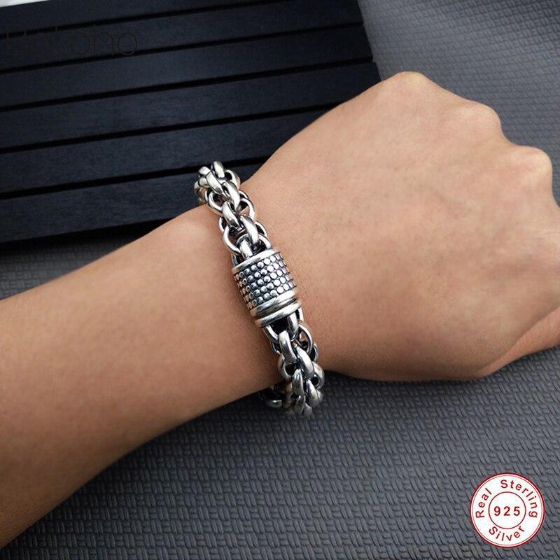 2018 véritable 100% pur 925 en argent sterling bracelet pour hommes en argent sterling 925 bracelet homme bijoux pour hommes Bracelet de Style Vintage