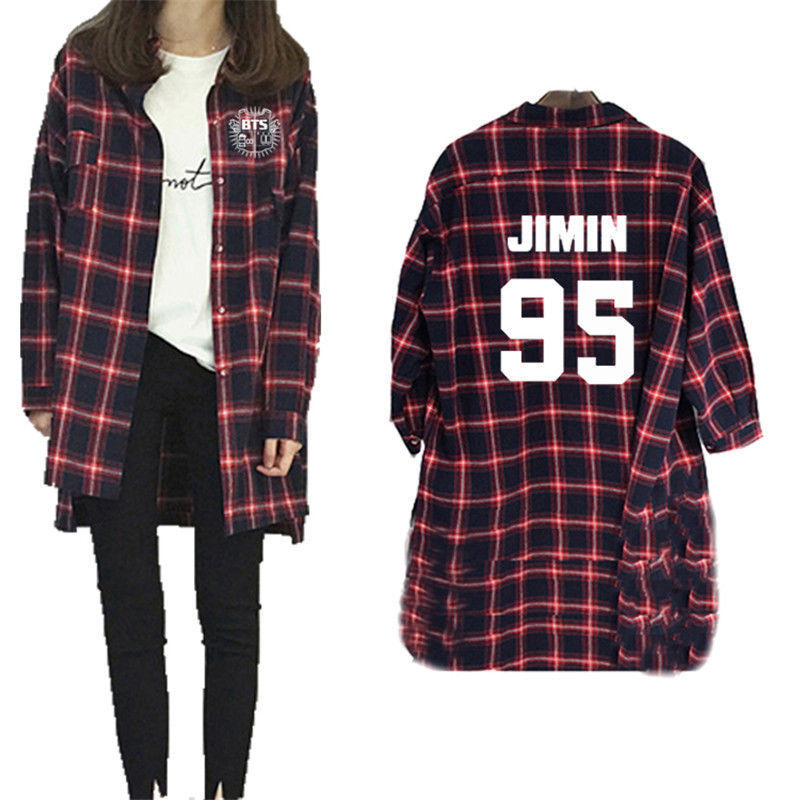 Mainlead KPOP BTS Merchandise Red Plaid Shirt Jimin Bangtan Boys Long Sleeve T-shirt Suga ...