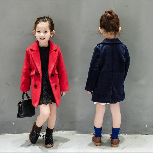 Nuevos Bebés de La Moda de Primavera Otoño Abrigo de Lana para Niños 2-7años Soild Larga Double-Breasted Trench Coat Niños Outwear Rojo Azul