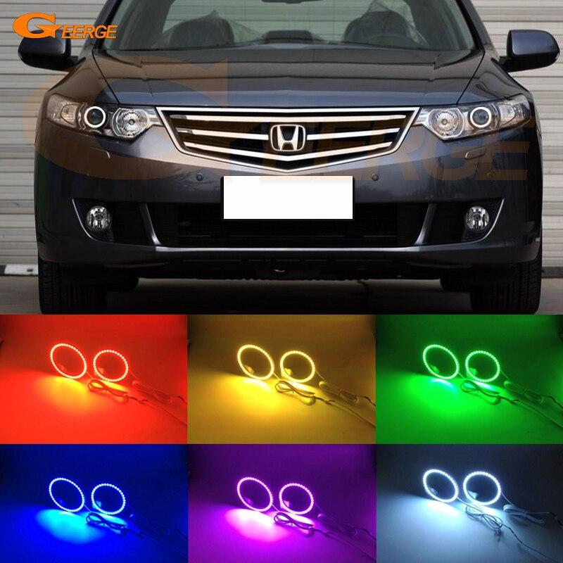 Для Honda доработанный spirior 2009 2010 2011 2012 2013 отличная глаза Ангела многоцветные Ультра-яркий RGB из светодиодов Ангел глаза комплект гало кольцо