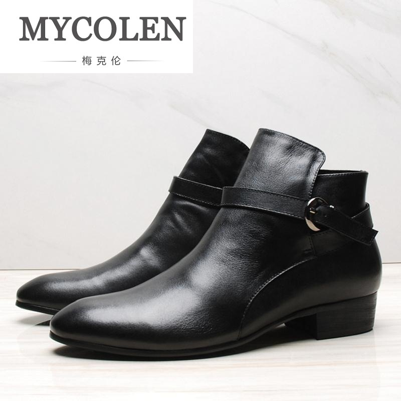 MYCOLEN Black / Brown Mens Ankle Boots Genuine Leather Dress Shoes Mens Business High Heels Motorcycle Boots Chaussures Homme fashion black brown mens ankle boots formal shoes genuine leather dress boots mens motorcycle boots outdoor casual shoes