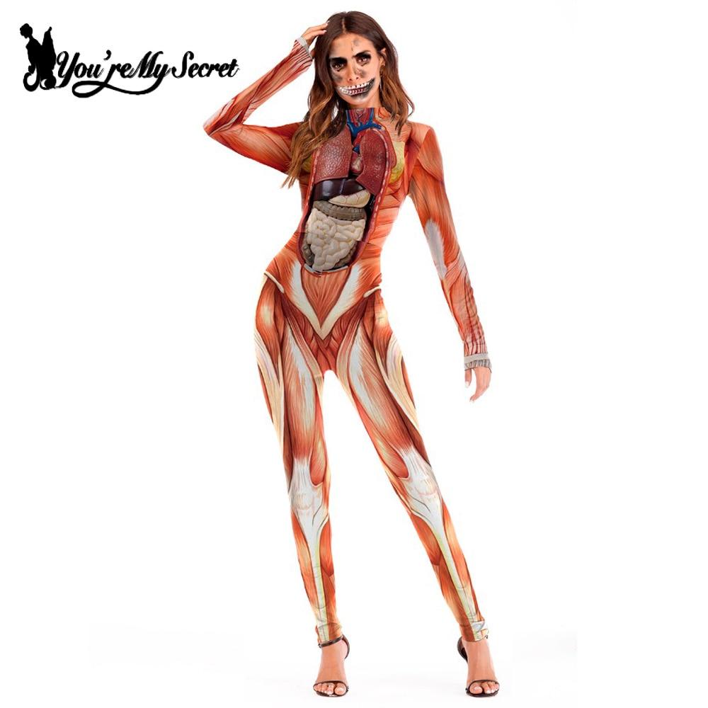 [Sie sind Mein Geheimnis] 2018 Heißer Halloween Angriff auf Titan Scary Kostüm für Frauen Overalls Party Muskel Drucken catsuit Sexy Body