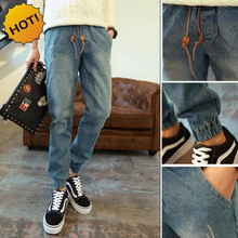 HOT Style mens Elastic Waist Jeans Teenagers Denim Cuffed Leg Harem Pants Boys Blue Drawstring Ankle Banded Pants Bottoms 28-34