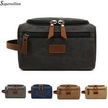 Soperwillton Men Travel Toiletry Bag 2020 Overnight bag Packing Cubes Bags Dopp Kit for Men Canvas Leather Travel Bag #601