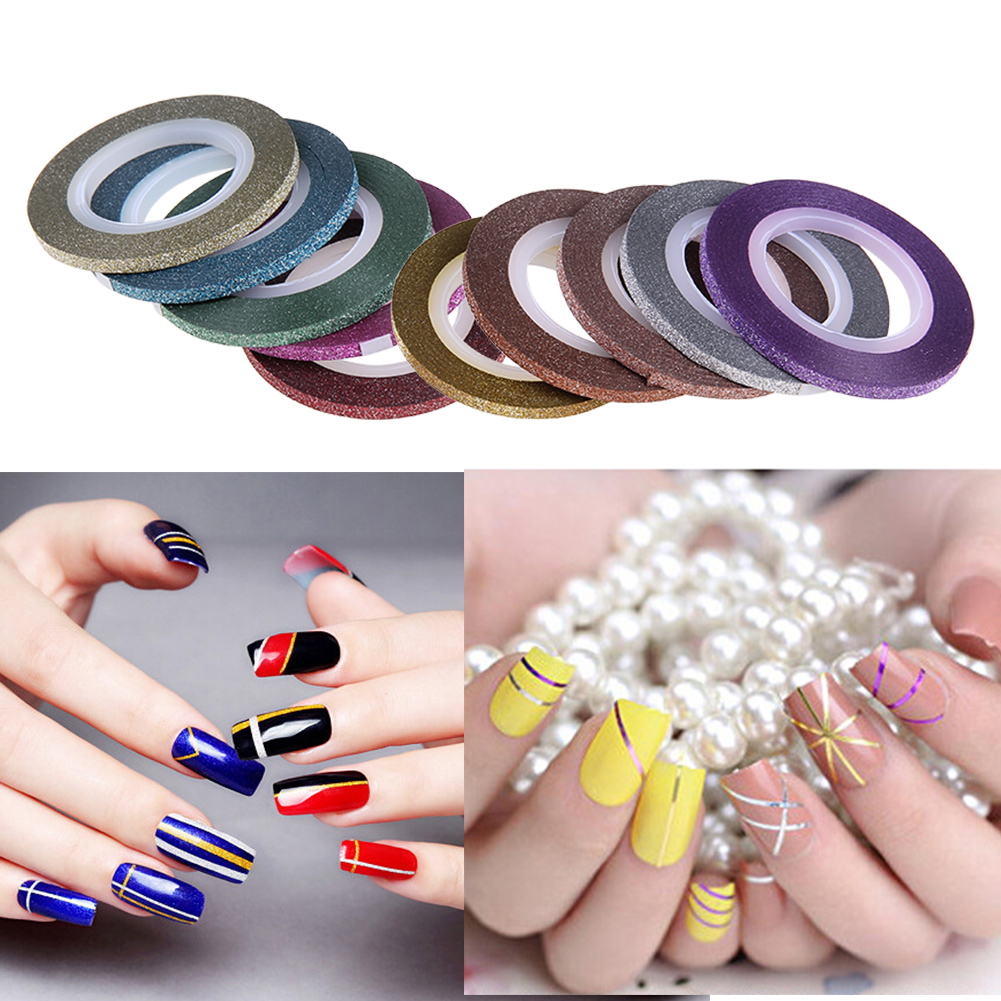 10 Rolls 3mm Nail Art Glitter Sticker Striping Tape Line Laser Shinning Mixed Colors Diy Tips Manicure Nails Decoration In Stickers Decals From