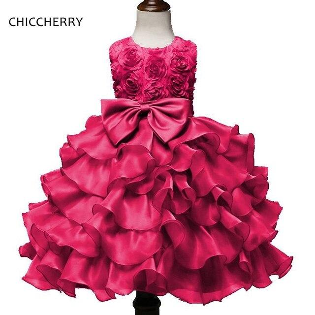 Pink 3D Rose Blume Mädchen Spitzenkleid Prinzessin Baby Brautkleider ...
