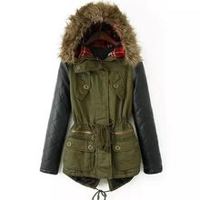 2016 Winter Jacket Women Down Parka Plus Size Cotton Padded Coat Fur Hooded Outwear PU Leather Sleeve Winter Coat Women