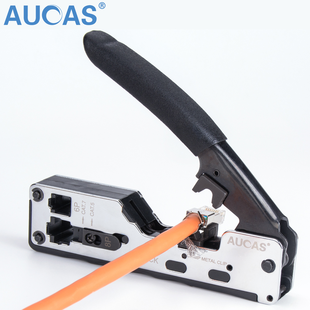 AUCAS New Multifunction Network Tool Crimper Stapler Type Cat7 Cat6 Cat5 Cable Crimping For RJ45 Connector LAN Cable Crimper