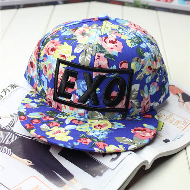 88ba3c20d2a placeholder 2017 new brand new design fashion colorful flower print  Snapback baseball cap words kpop EXO women