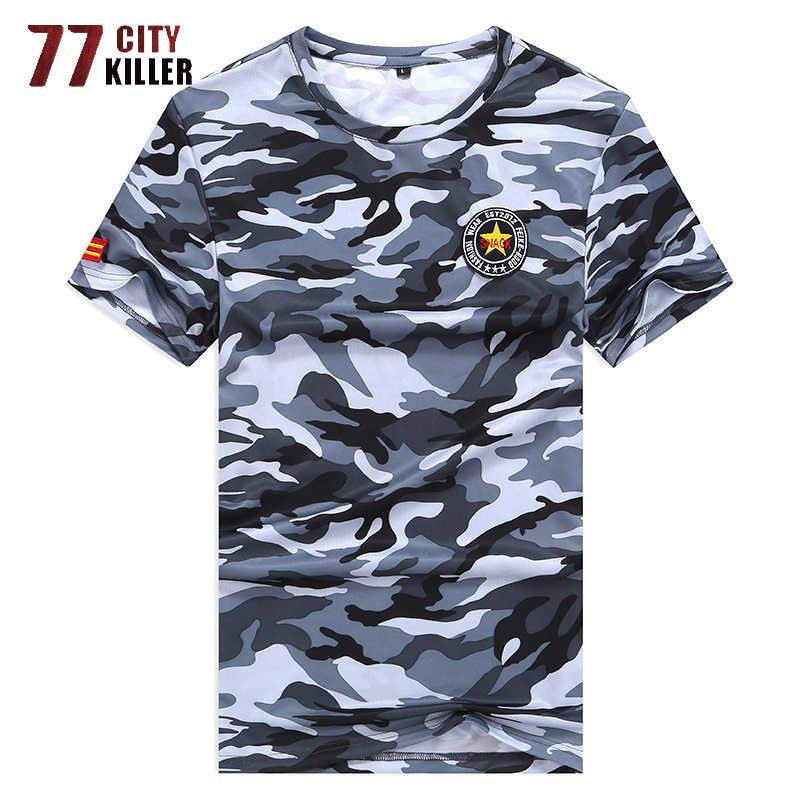 Большие размеры 7XL 8XL летняя футболка мужская быстросохнущая футболка с коротким рукавом военный топ с камуфляжным принтом Футболки дышащая футболка s Мужская
