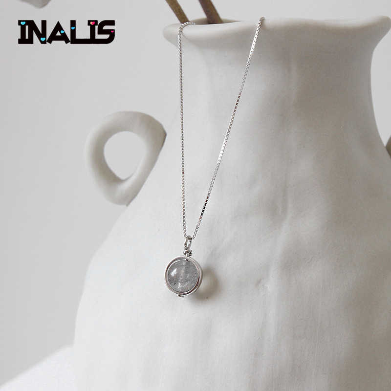 INALIS New Vintage Delicate Fine Jewelry S925 Sterling Silver Single Round Moonstone Pendant Box Chain Necklace for Women Girl
