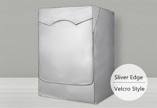 Dewel Silver Polyester Waterproof Cover For Drum Washing Machine Dust-proof Sunscreen Washer Dryer Cover