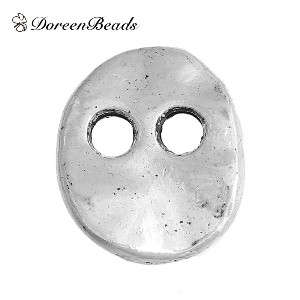 50 шт. детали Овальный цинковый сплав на основе кованые металлические швейные пуговицы, античное серебро цвета