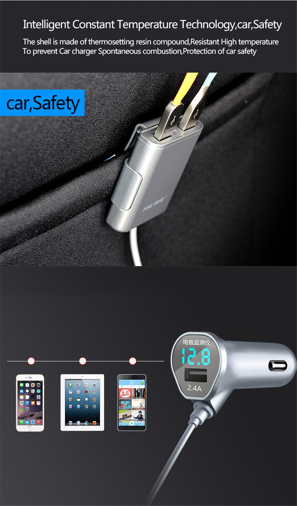 Brand HSC-600 car-charger 4 USB 4.8A Lengthen 1.8 meters , car charger for ipad iphone 5 5s 6 6s and samsung phone (7)