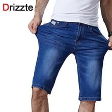 Drizzte Для мужчин S Повседневное стрейч Синий Легкий Джинсовые шорты Для мужчин Джинсы летние джинсовые Для мужчин S Шорты плюс Размеры 33 34 35 36 38 40 42 44 46