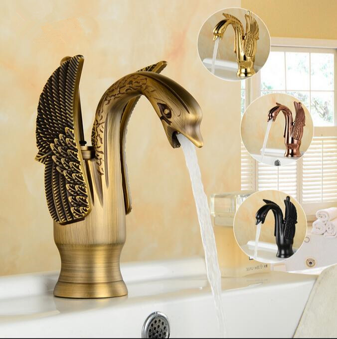 Bathroom Basin Faucet torneira Arts Swan Faucet Hot Cold Water Basin Mixer Golden Tap Sink Faucet Deck Mounted Brass Retro Taps deck mounted golden brass swan basin faucet single handle countertop sink mixer